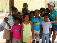 My children with affected orphans in Sri Lanka